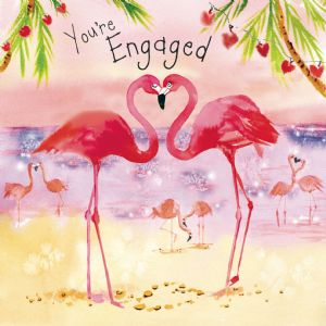 FIZ78  Flamingo Engagement Card